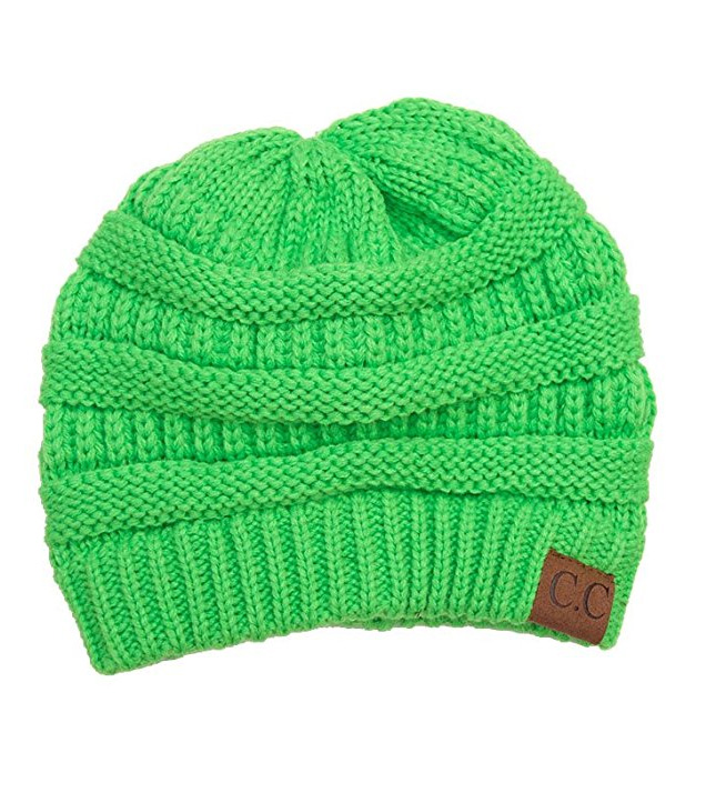 9d5f665096754 Neon Green Ribbed Knit CC Beanie Hat