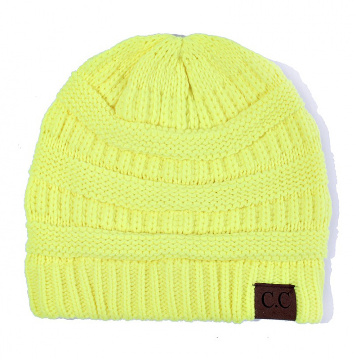 Neon Yellow Ribbed Knit CC Beanie Hat 0835462dc6a