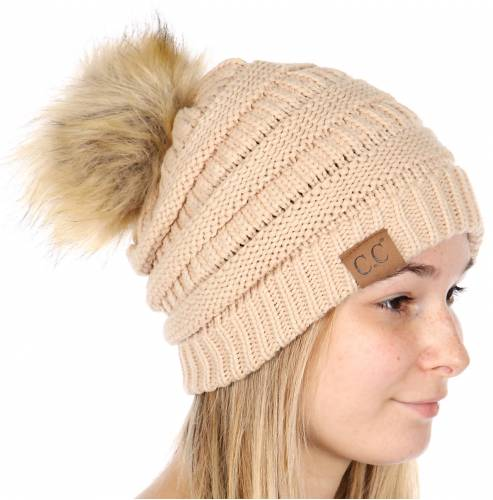 88277fb01ab New Beige Faux Fur Pom Pom CC Beanie Hat