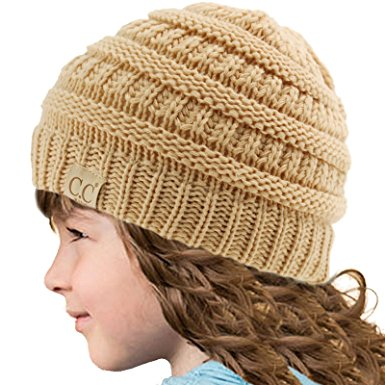 New Beige Kids Knit Beanie Hat from CC Brand 00766917024