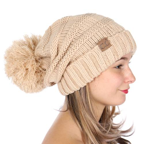New Beige Slouchy CC Beanie Hat with Pom Pom 1a1c1465203