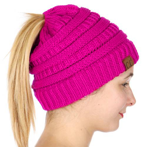 New Candy Pink Cc Beanie Hat With Open Ponytail