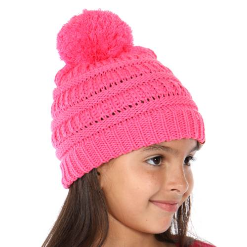cd296aa49 KIDS New Candy Pink Knit Beanie Hat with Pom Pom from CC Brand
