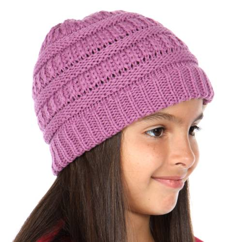 0996a5009df New Lavender Kids Knit Beanie Hat from CC Brand
