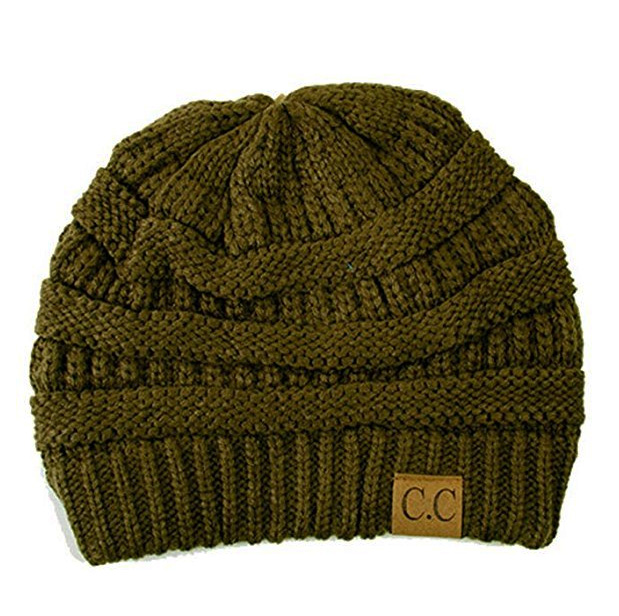 New Olive Green Knit CC Beanie Hat 5b46a9c15cb