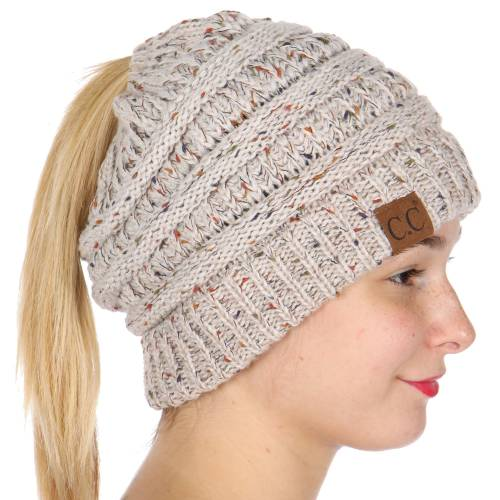 Oatmeal Ombre Confetti CC Beanie with Ponytail Opening 7374eceaf71