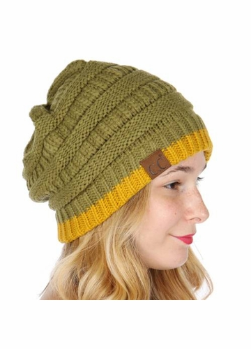 Olive and Mustard Yellow Two Tone Cuff CC Beanie Hat
