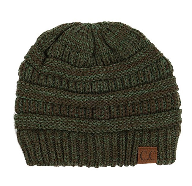Olive Green and Brown Two Tone CC Beanie Hat 51456f0296d