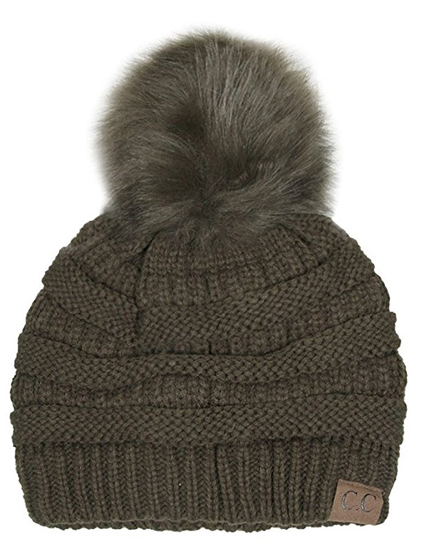 Olive Green CC Knit Beanie Hat with Matching Fur Pom Pom 748bed6d1cc