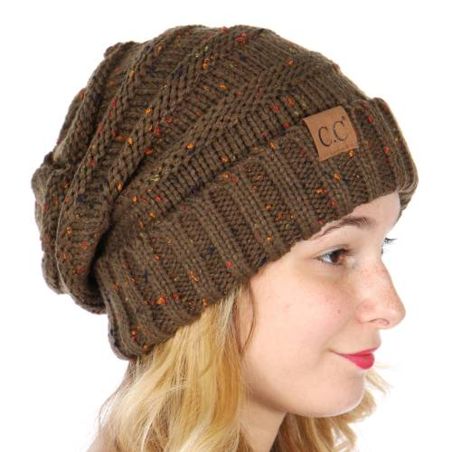 8b0548017f341 ... Olive Green Slouchy Confetti Knit CC Beanie Hat inset 2 ...