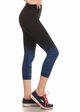 Ombre Active Wear Capri Leggings in Blue and Black inset 1