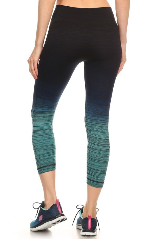 Ombre Active Wear Capri Leggings in Mint and Navy