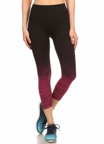 Ombre Active Wear Capri Leggings in Pink and Black
