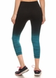 Ombre Active Wear Capri Leggings in Teal and Black inset 1