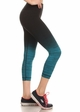 Ombre Active Wear Capri Leggings in Teal and Black inset 2