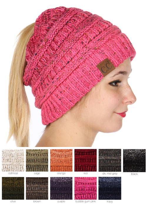 Ombre Confetti CC Beanie with Ponytail Opening beb558f8f2d