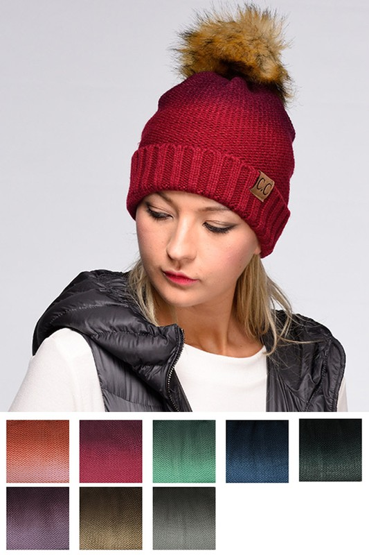Ombre Fold Over Pom Pom Beanie by CC a8cd1929ce4