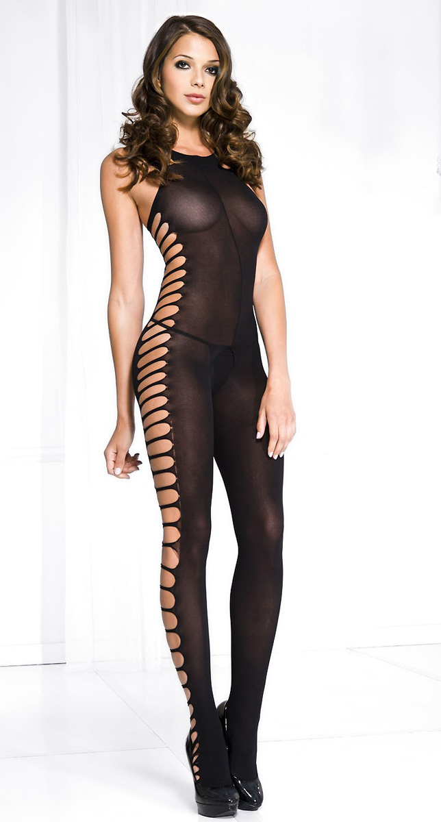 Opaque Bodystocking With Cutout Sides