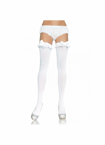 Opaque Thigh High Stockings with Satin Ruffle and Bow