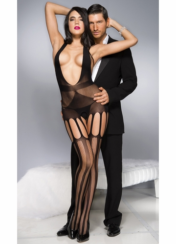 Oval Net Black Bodystocking