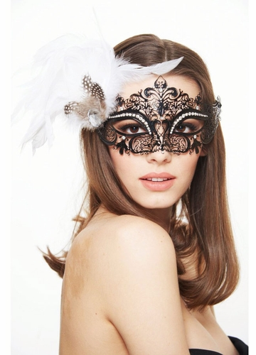 SALE Phoenix Laser Cut Masquerade Mask With Feathers