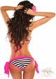 Pin-Up Striped Pucker Back Bikini with Pink Trim inset 1