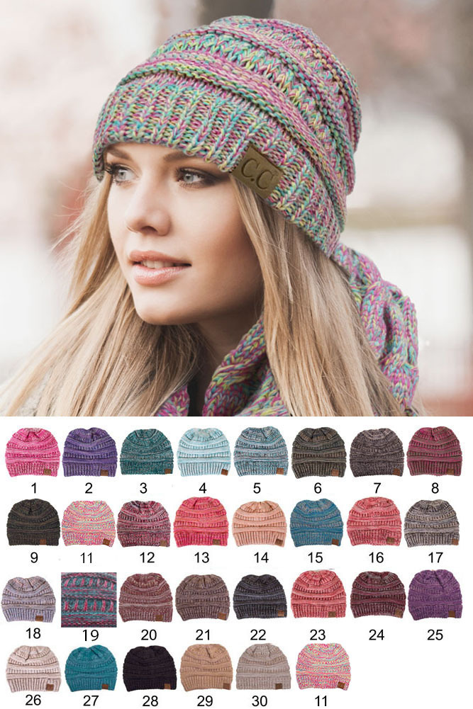 Pink and Orange Multi Knit Beanie Hat from CC Brand inset 1 204f9aee336