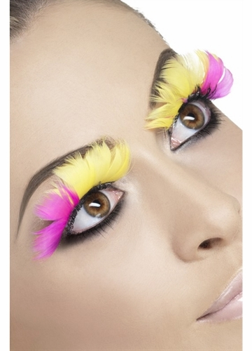 Pink and Yellow Feather Lashes