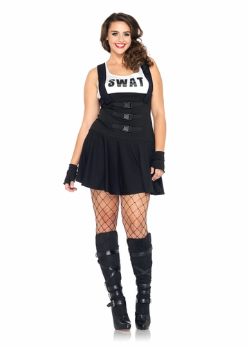 Plus Size Sultry SWAT Officer Halloween Costume