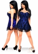 Plus Size Blue Satin Corset Dress with Lace Overlay inset 2