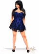 Plus Size Blue Satin Corset Dress with Lace Overlay inset 3
