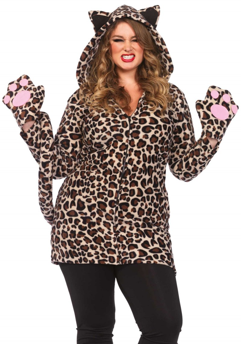plus size cozy fleece leopard halloween costume inset 1