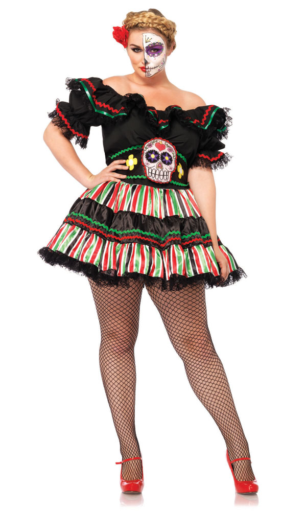 9168fc19e6b25 Plus Size Day of the Dead Doll Costume