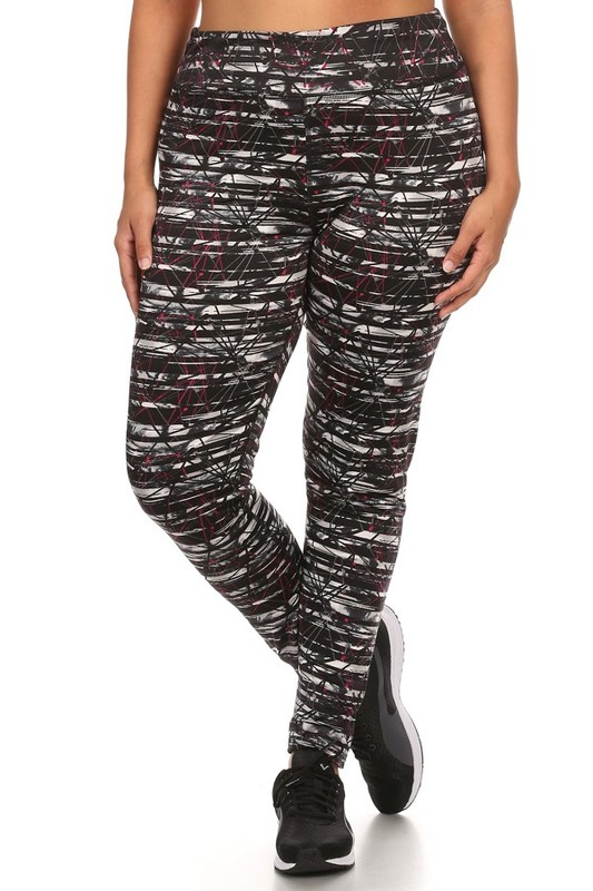 3eababeffd9 Plus Size Four Way Stretch Athletic Leggings in Abstract Pattern