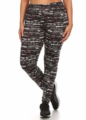 Plus Size Four Way Stretch Athletic Leggings in Abstract Pattern
