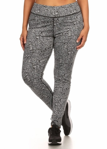 Plus Size Four Way Stretch Athletic Leggings in Aztec Pattern