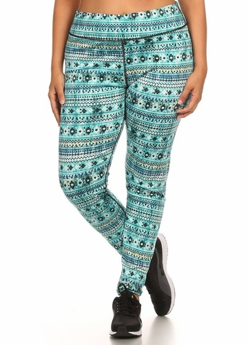 Plus Size Four Way Stretch Athletic Leggings in Blue Aztec Pattern