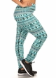 Plus Size Four Way Stretch Athletic Leggings in Blue Aztec Pattern inset 1
