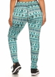 Plus Size Four Way Stretch Athletic Leggings in Blue Aztec Pattern inset 2