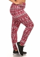 Plus Size Four Way Stretch Athletic Leggings in Red Aztec Pattern inset 1