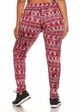 Plus Size Four Way Stretch Athletic Leggings in Red Aztec Pattern inset 2