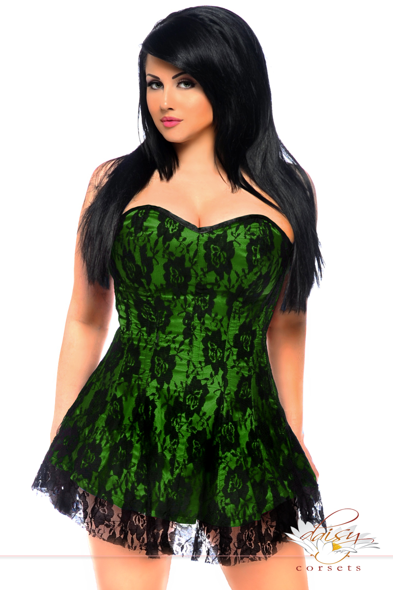 5b71d097990 Plus Size Green Satin Corset Dress with Lace Overlay