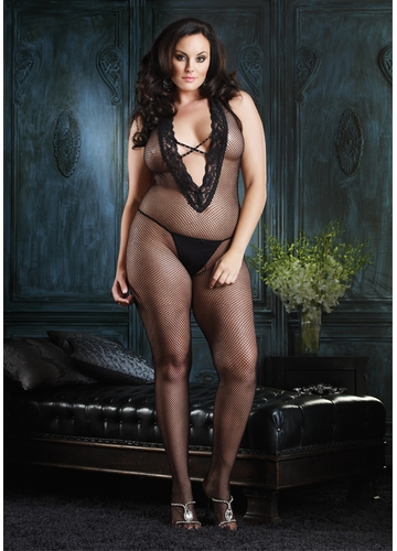 Plus Size Halter Fishnet Bodystocking with V-front