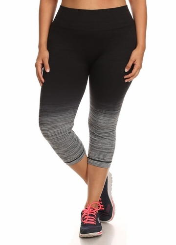 Plus Size Ombre Active Wear Capri Leggings in Grey and Black
