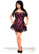 Plus Size Pink Corset Dress with Lace Overlay inset 2