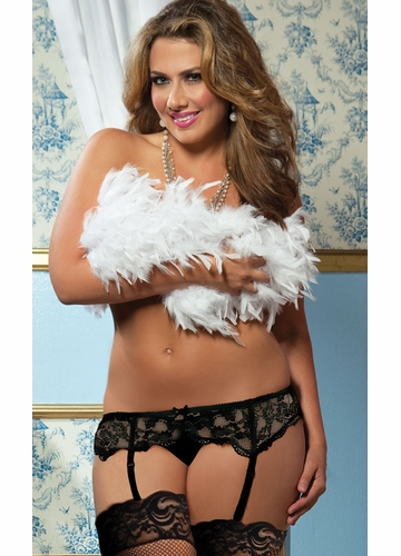 Plus Size Premium Lace Garter Belt with Adjustable Back