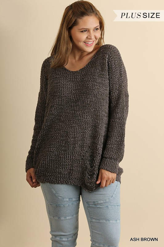 Plus Size Ripped Oversized Sweater