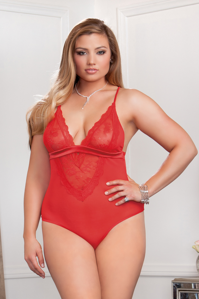 Plus Size Sasha Lace And Mesh Bodysuit