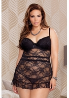 Plus Size Sasha Lace Babydoll with Apron Back