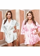Plus Size Satin 3/4 Sleeve Robe with Sash (available in 12 colors) inset 3